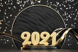 Fundo de tipografia de texto dourado 2021 foto