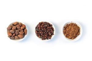sementes de grãos de cacau, nibs de cacau e pó de cacau no fundo branco foto