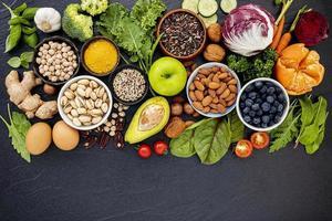 seleção de comida saudável