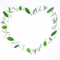 ervas frescas e frutas em forma de coração foto