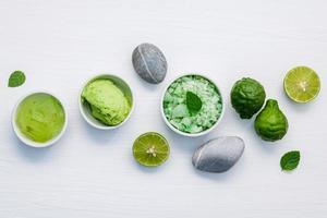 vista superior de cuidados com a pele verde