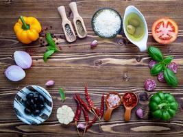quadro de ingredientes italianos frescos