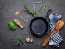 frigideira com ervas e um utensílio de madeira