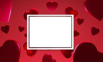 Fundo 3D em formato de coração vermelho com modelo de moldura quadrada branca