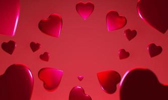 Fundo 3D em forma de coração voando sobre fundo vermelho