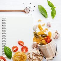 conceito de menu de refeição italiana