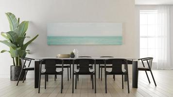 interior de uma sala de estar moderna em uma renderização 3D foto