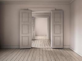 quarto vazio interior em renderização 3d foto