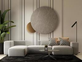 interior minimalista de uma sala de estar moderna em renderização 3D