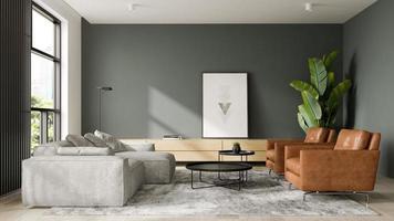 interior minimalista de uma sala de estar moderna em ilustração 3D