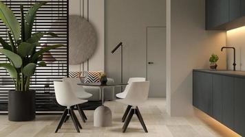 interior minimalista de uma sala de estar moderna em renderização 3D foto