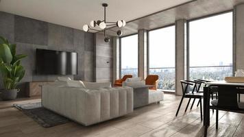 interior minimalista de uma sala de estar moderna em ilustração 3D foto