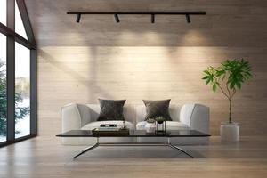 uma sala de estar interior de uma casa na floresta em ilustração 3D