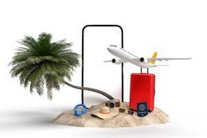 maquete de viagem 3d de férias de verão foto