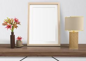 moldura de pôster de maquete com decoração para casa foto