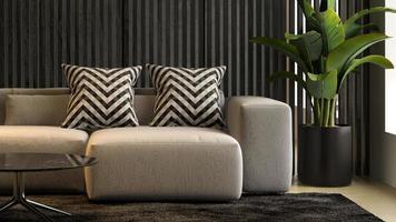 interior de uma sala de estar moderna com sofá em renderização 3D