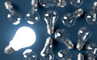 conceito de ideia de lâmpadas em segundo plano. Ilustração 3D render foto