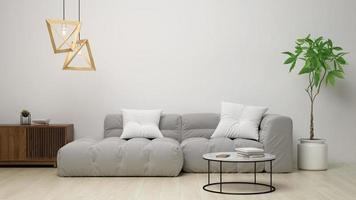 interior de uma sala de estar moderna em renderização em 3d foto