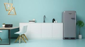 interior de uma moderna sala de estar e cozinha em renderização 3D