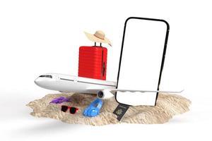 Renderização 3D de itens de férias em viagens foto