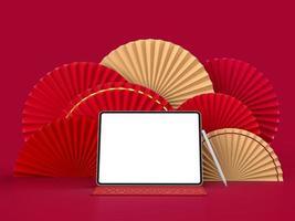 medalhão 3d do ventilador de papel para o ano novo chinês com tablet isolado