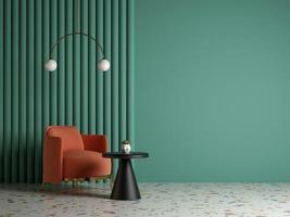 quarto interior conceitual estilo memphis em ilustração 3D foto