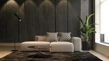 interior de uma sala de estar moderna com sofá em renderização 3D foto