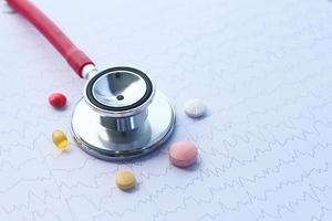 pílulas e estetoscópio
