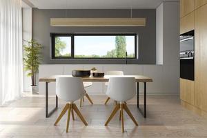 design de interiores de estilo moderno de uma casa em renderização em 3d