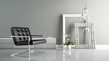 interior com molduras elegantes em renderização 3d
