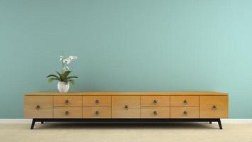 interior com um console retrô estiloso e orquídea em renderização 3D