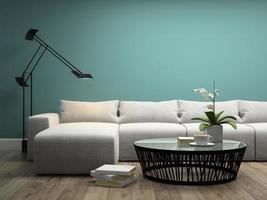 interior com um sofá branco e orquídea em renderização 3d