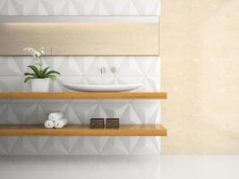 interior de um banheiro branco elegante em renderização em 3d foto