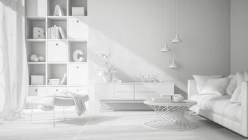 design de interiores branco em renderização 3d