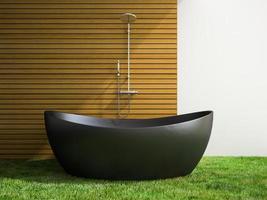 banheiro interno com piso de grama em renderização 3D
