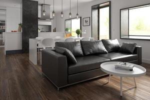 Design de interiores em estilo escandinavo com renderização em 3d