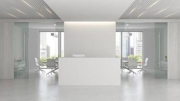interior de uma recepção e sala de reuniões em ilustração 3D foto