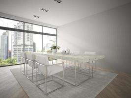 interior de um loft de design moderno com uma grande mesa em renderização 3D foto