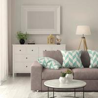 interior de uma sala de estar moderna com sofá e móveis em renderização 3D