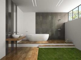 interior de um banheiro com piso de madeira e grama em renderização 3D foto