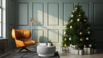 interior de uma sala de estar moderna com uma árvore de natal em renderização 3D