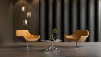 design de interiores de um quarto moderno em ilustração 3D