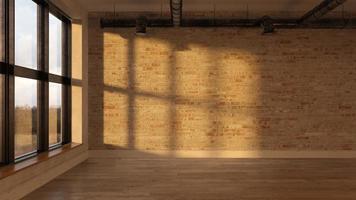 quarto vazio interior durante o pôr do sol em renderização 3d foto