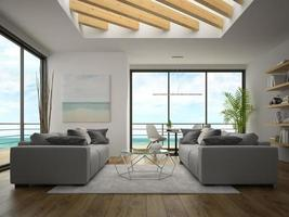 quarto com design moderno e vista para o mar em renderização em 3D foto