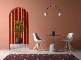 sala interior conceitual em ilustração 3D