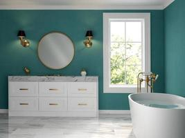 um estilo clássico de um banheiro interno em renderização 3D