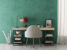 interior de uma sala de estar moderna com uma mesa em renderização 3D