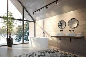 banheiro interior de uma casa na floresta em renderização em 3d