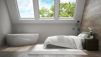 interior de um quarto moderno e banheiro com armários de madeira em renderização 3D