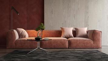 interior de uma sala de estar moderna em renderização em 3d